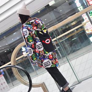 卡通创意动漫图案中长款加绒保暖连帽外套冬装可爱原创外衣个性潮