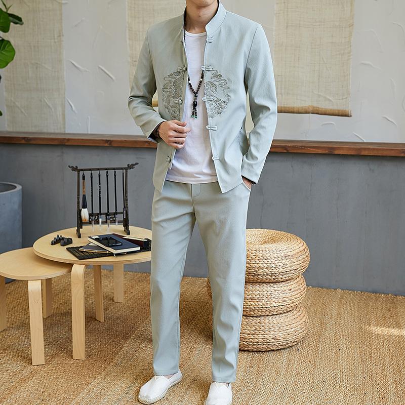 秋季中国风套装男青年春长袖外套休闲两件套中山装唐装TZ718-P95
