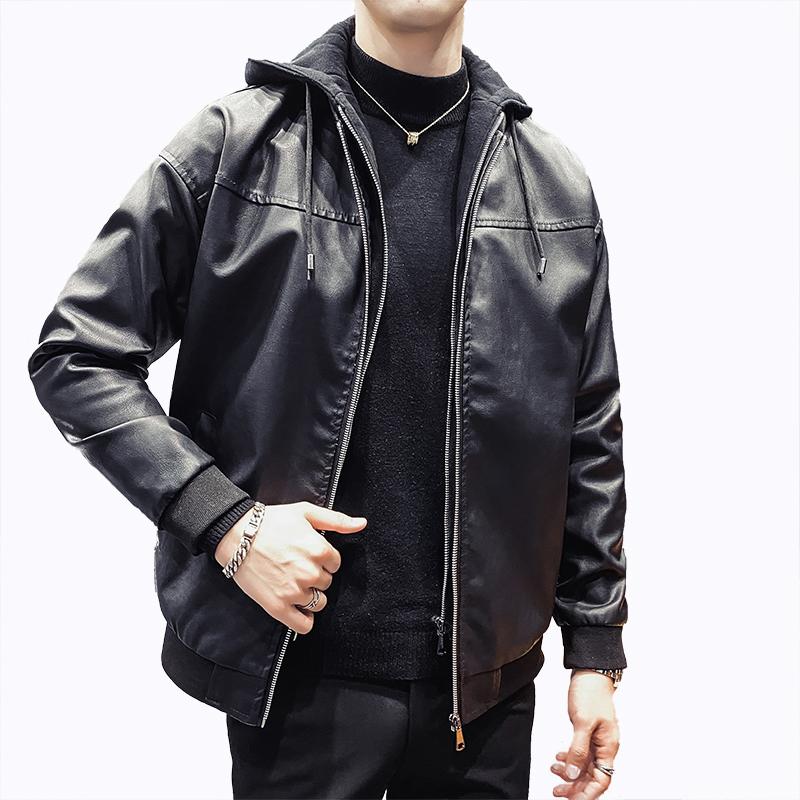 秋装男士假两件连帽皮衣潮流时尚皮夹克帅气韩版机车服短款外套