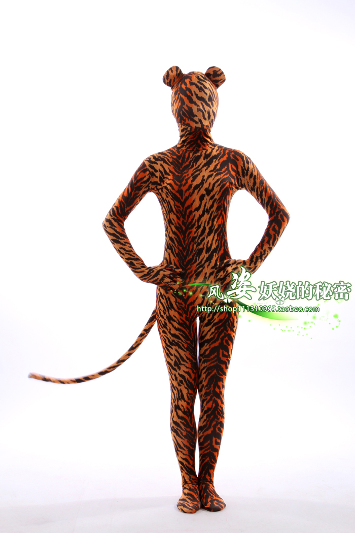 Tiger print high bounce Lycra all in one bodysuit / stage performance cos cartoon role play bottoming one in one