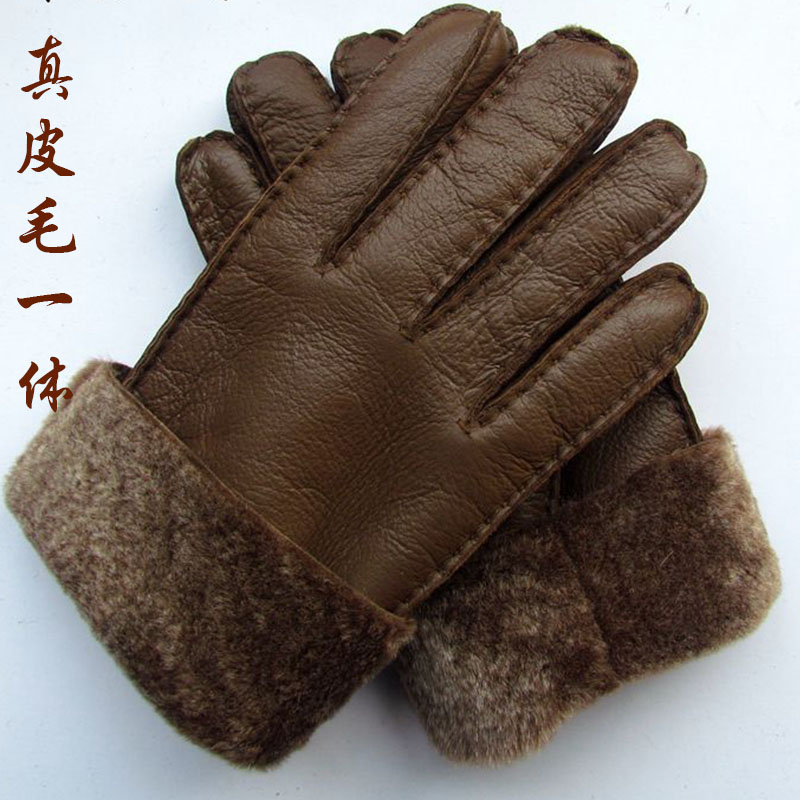 Winter mens and womens sheep shearing gloves super thick wool thickened fur integrated warm windproof leather riding gloves