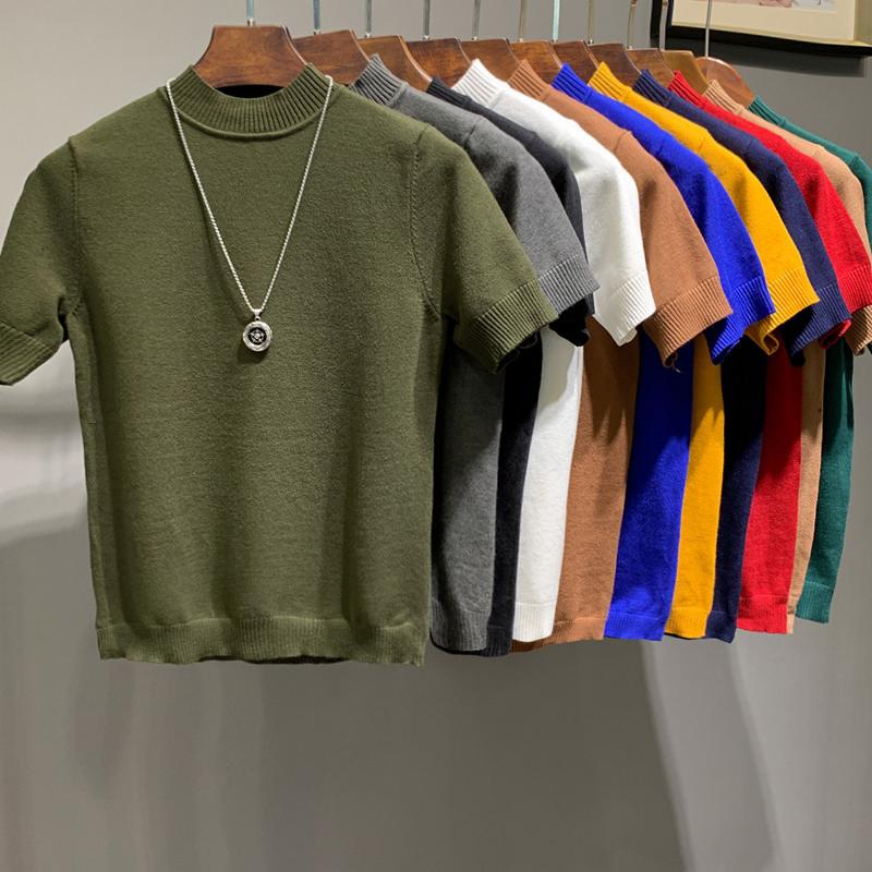 春夏男士半高领针织短袖韩版修身纯色半袖T恤潮男紧身中领打底衫