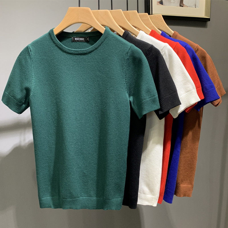 2021春夏新款韩版修身男士圆领针织短袖青年休闲短袖T恤打底衫潮