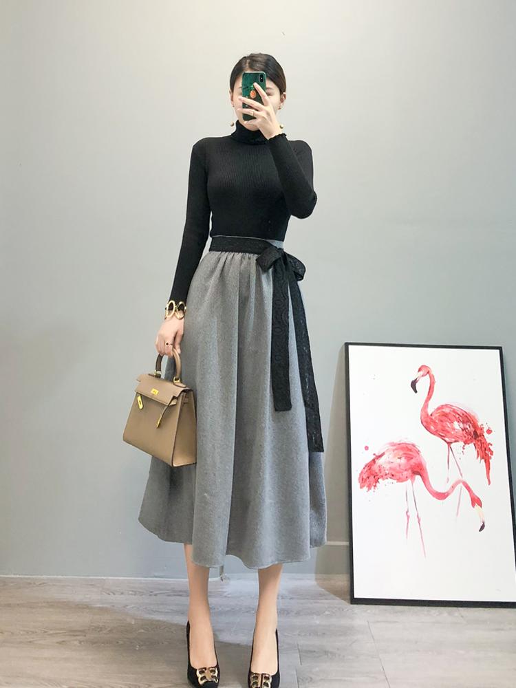 网红毛衣裙子两件套秋冬季新款女2018赫本风毛呢中长裙针织套装裙