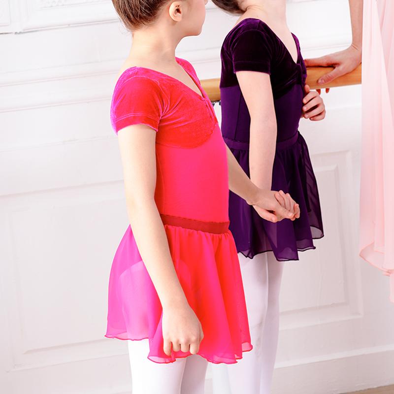 女童考級雪紡裙幼兒童舞蹈服裝夏芭蕾舞練功服半截演出圍裙半身裙