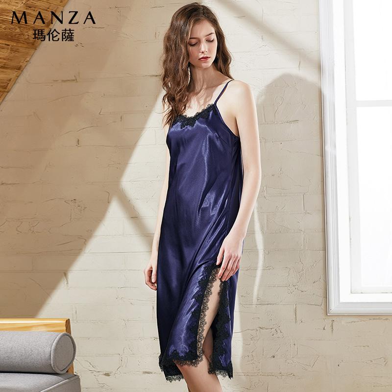 玛伦萨女款睡衣女夏季性感吊带蕾丝睡衣薄短弹力丝质柔软透气睡衣