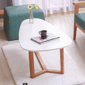北欧实木茶几日式简约小户型椭圆茶几 创意客厅家具水滴茶几