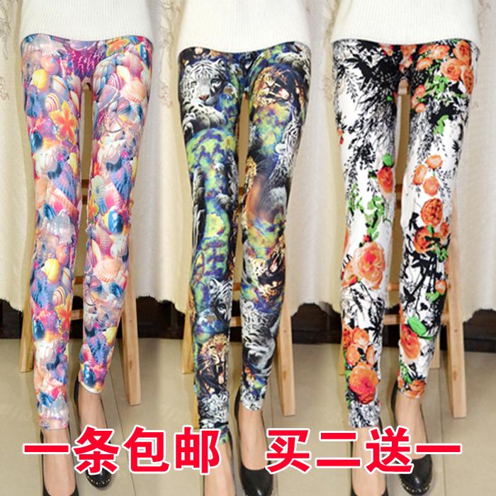 2021 new summer thin high waist womens large elastic slim Large Print graffiti Leggings Pants Yoga Pants