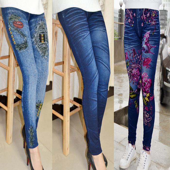 2021 new womens spring and autumn thin imitation denim printed Leggings high waist large elastic tight Leggings