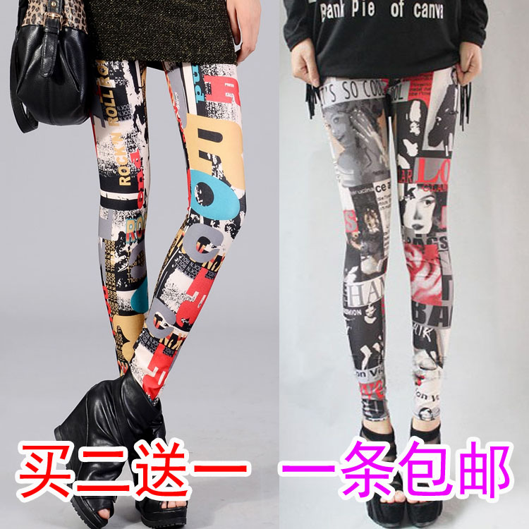 New thin floral pants childrens fashion printed candy color tight elastic personalized color Leggings for women