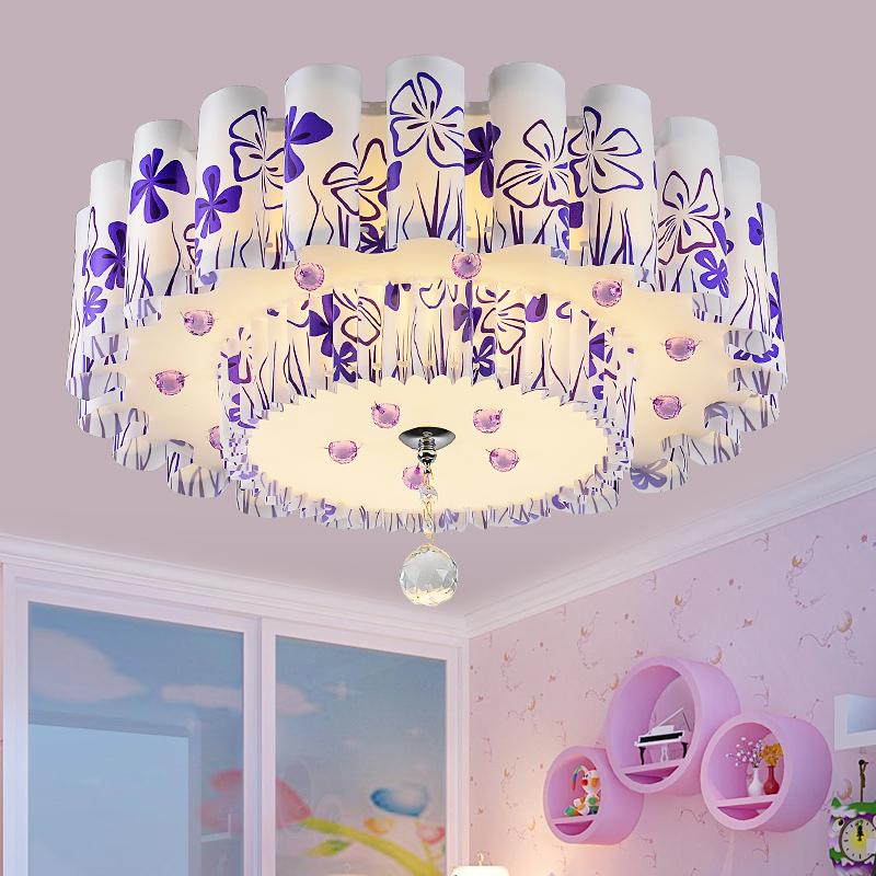 现代简约led卧室灯吸顶灯温馨圆形水晶灯客厅浪漫婚房灯具灯饰