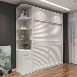 现代简约经济型衣柜推拉门移滑门卧室柜子整体木质家用储物大衣橱图片