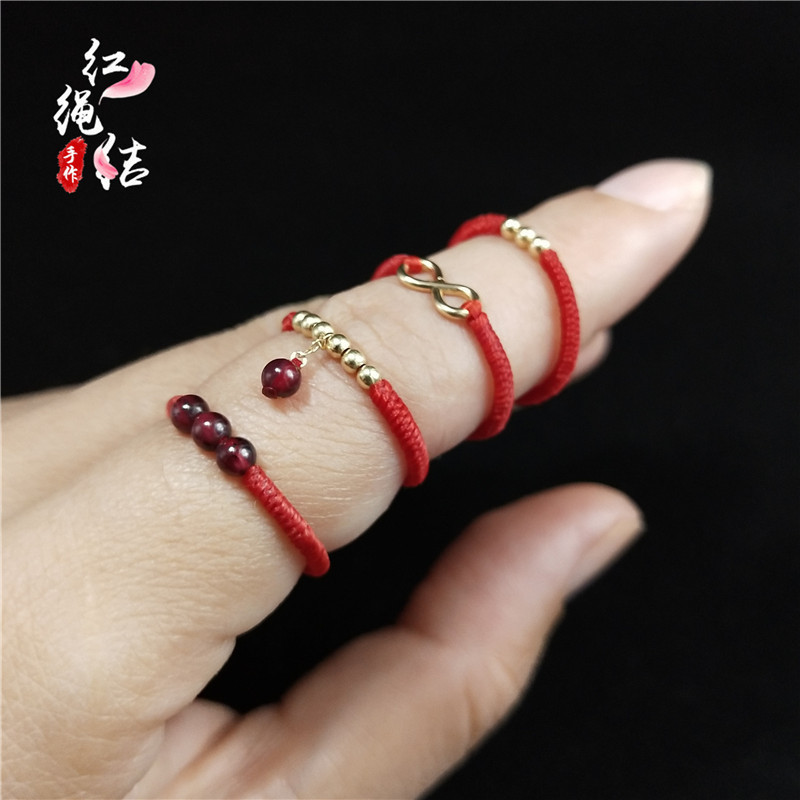 Hand woven red rope couple Ring 14k Gold 8-word unlimited love hand made original girlfriends ring customized for women