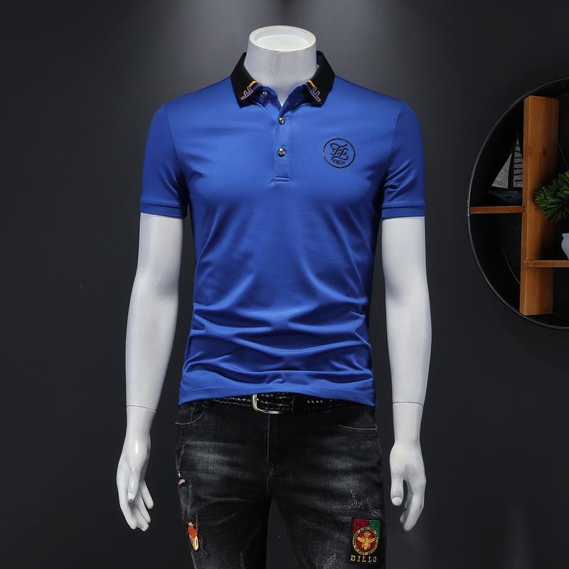 2020男士翻领双丝光POLO衫短袖上衣蓝色8810款P88(正常尺码)