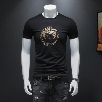 2019短袖T恤 男士烫钻大码体恤上衣 黑色货号66220款 P70