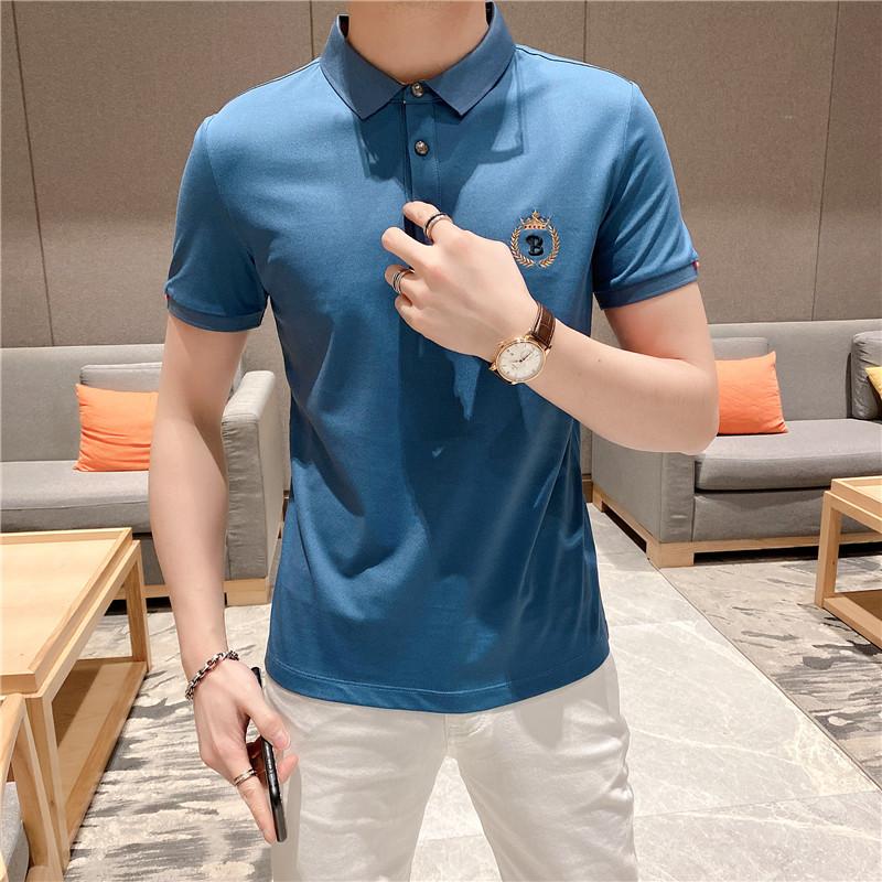 模特图男士翻领玉蚕丝高端POLO衫短袖T恤A915款P98蓝色 控158