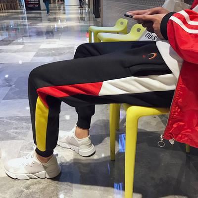 2017秋冬男士拼色休闲裤加厚抓绒运动卫裤小脚裤长裤 K09-P65
