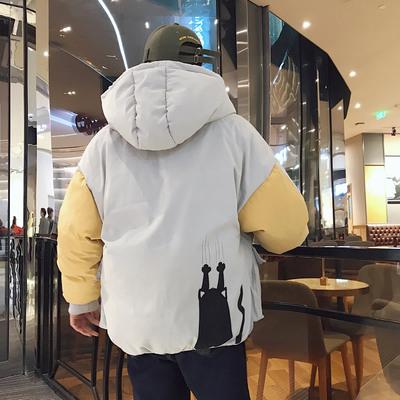 2017冬装男士韩版拼色宽松印花棉衣棉袄加厚外套潮 A02-P125