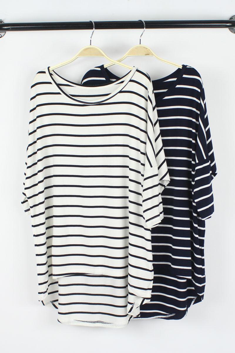 Европейский Ветер осенью 2015 года модальных долго bat свободный конец размер t рубашка женщин с длинными рукавами рубашки полоса рубашки