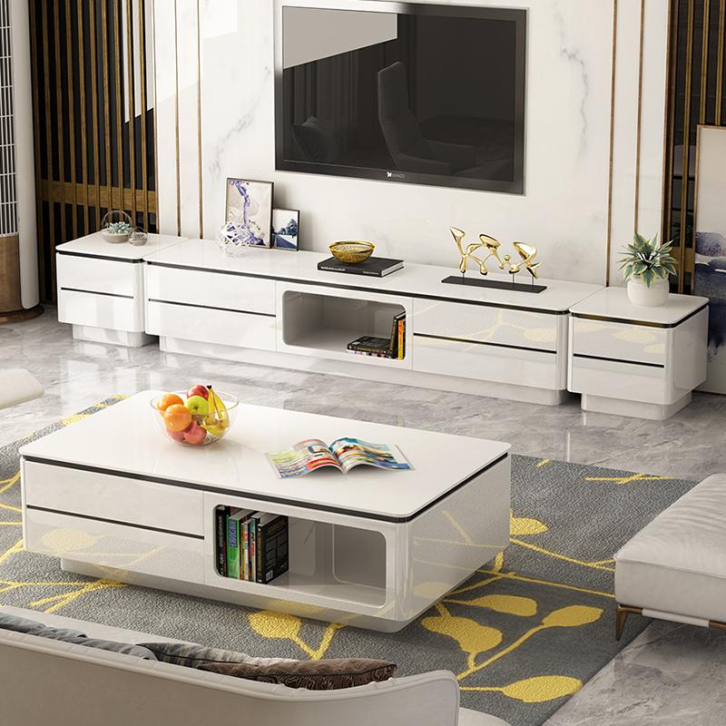 客厅电视柜茶几组合套装现代简约大理石小户型地柜影视柜北欧简约