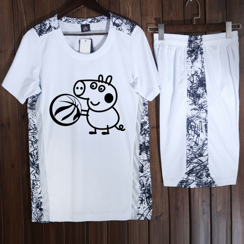 短袖篮球服套装女款韩版bf风大学生秋有袖男比赛球衣小猪佩奇定制