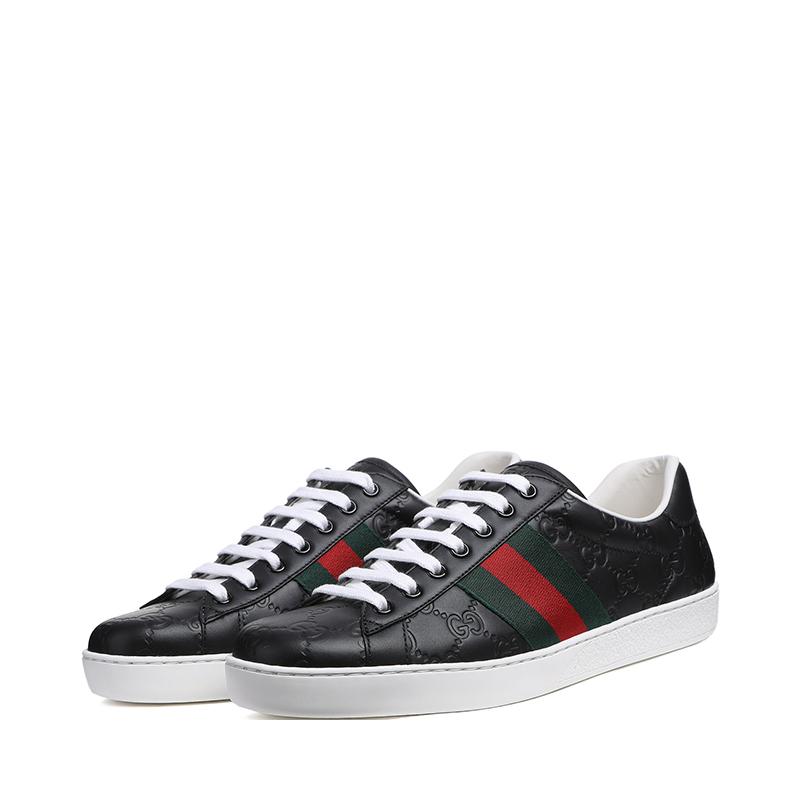 专柜同款Gucci/古驰男鞋牛皮经典条纹板鞋休闲运动鞋386750 CWCG0