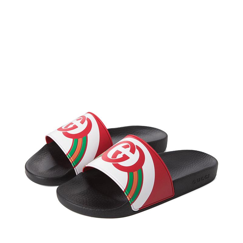 19新款Gucci/古驰男士拖鞋橡胶底休闲凉拖潮流沙滩鞋548703 JDB00