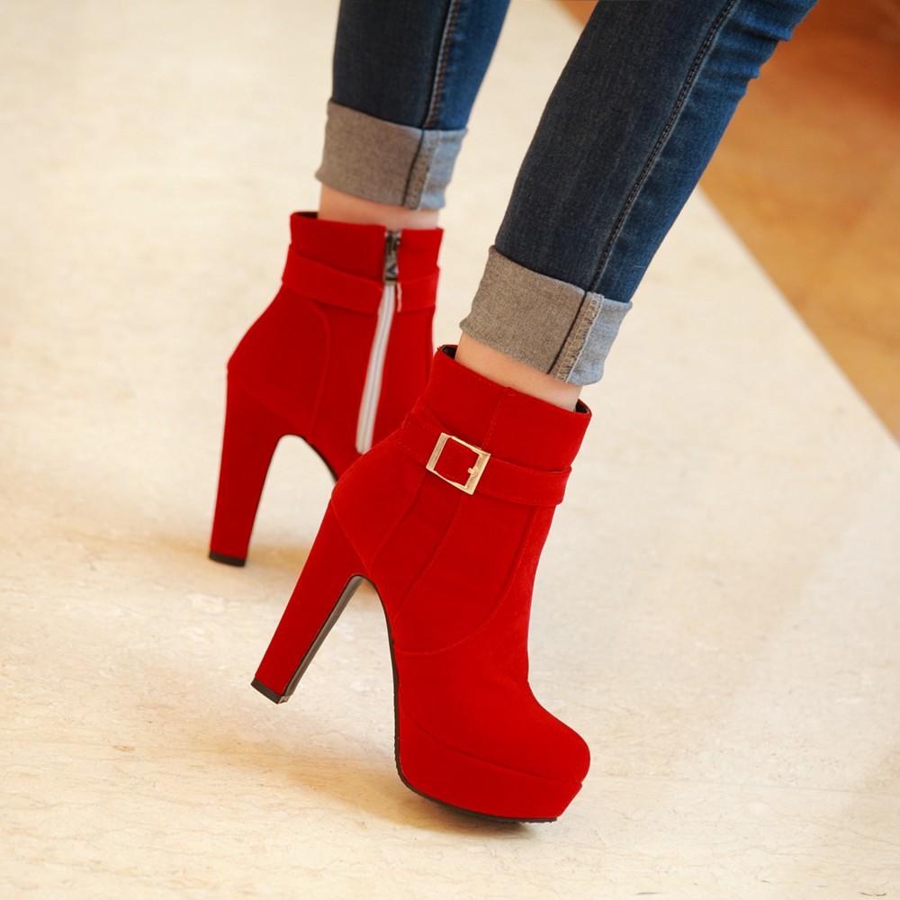 秋 高跟女鞋 絨麵粗跟黑色短靴 馬丁靴女靴子婚靴大碼