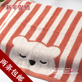 New Year Specials genuine gold No pillow stripe bear untwisted single pillow can be equipped with thick cotton towel