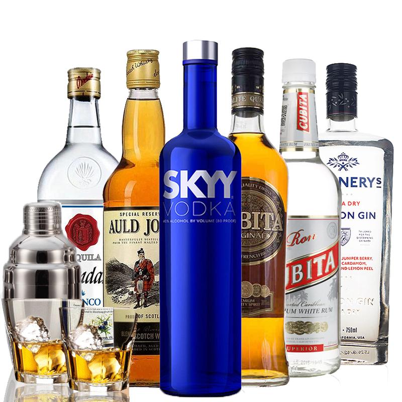 六大基酒调酒洋酒套装明天见鸡尾酒威士忌组合酒伏特加朗姆酒金酒