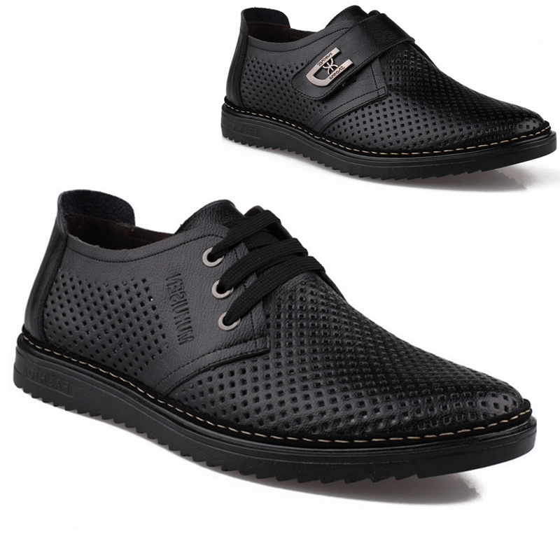 Mens summer business real leather belt mesh work cool shoes mens fashion anti-skid hollow formal dress large sandals
