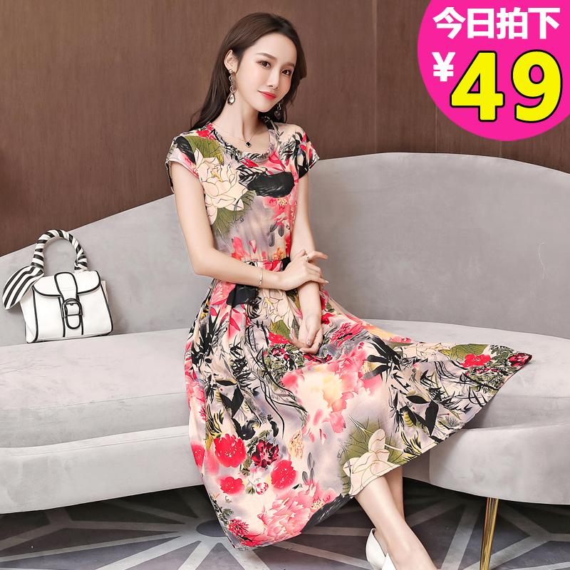 2019夏季新款中老年女装棉绸连衣裙(非品牌)