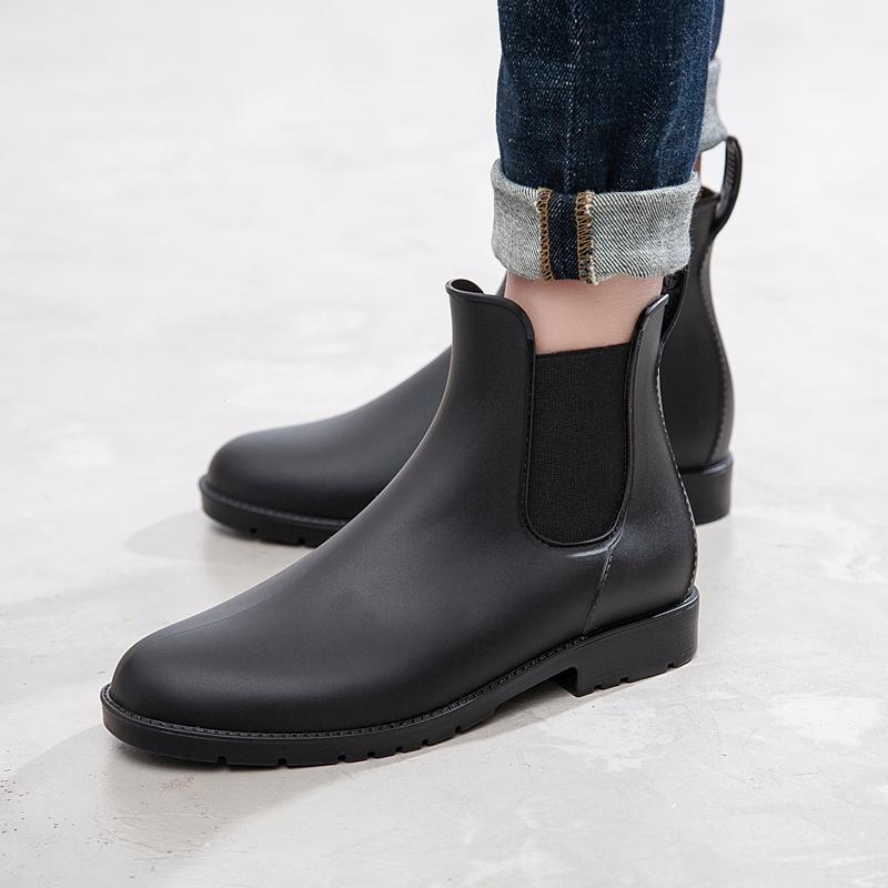 男士雨鞋低帮时尚加绒切尔西雨靴男短筒套鞋防水胶鞋防滑水鞋男