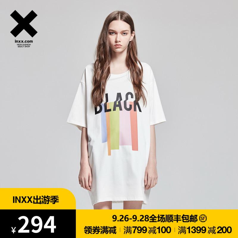 【INXX】Black and Blank 潮字母印花色彩短袖T恤通款TM72012587