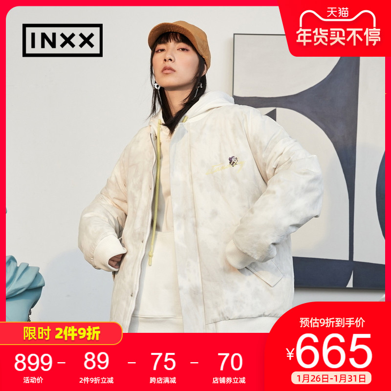 INXXSTAND BY Tide brand winter new couple loose tie-dye cotton clothes short thick warm men and women