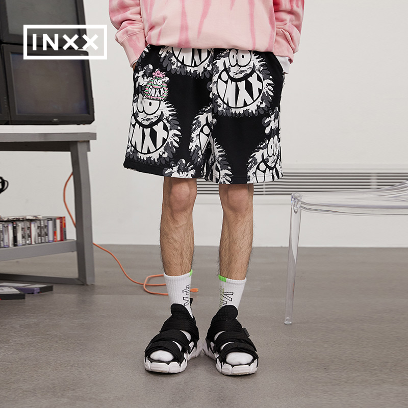InXX small monster series stand by brand new spring couple printed embroidery knitted shorts for men and women