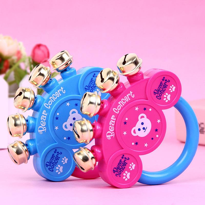益智新生婴幼儿玩具卡通小熊摇铃金属铃铛宝宝手摇铃小孩玩具批发