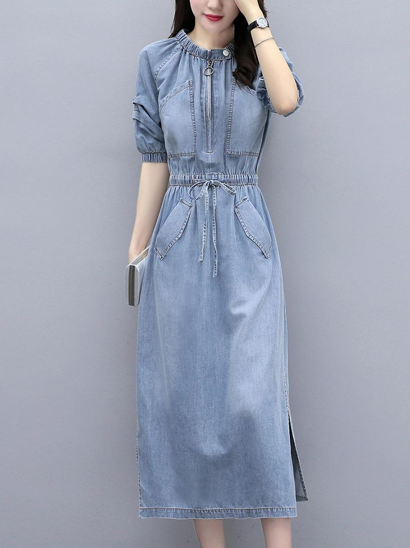 Denim dress long skirt summer 2021 womens dress new waist style, thin temperament, fashionable French retro style skirt