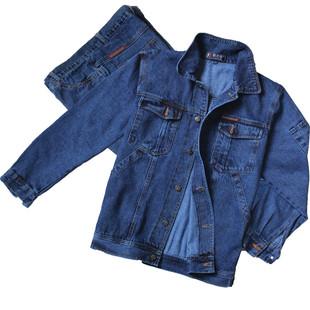 男 焊工劳保服 厂服 电焊工作服套装 定制牛仔工装 纯棉加厚焊工长袖