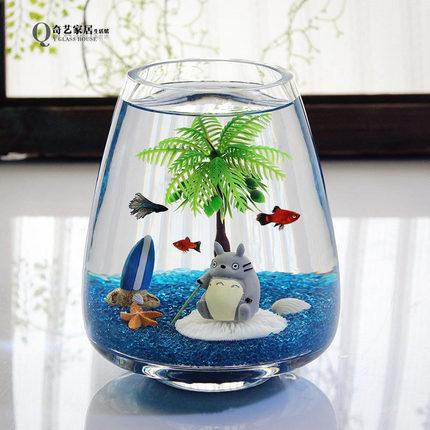 包邮透明玻璃椭圆鱼缸 金鱼缸 水培花瓶 创意办公桌面摆件 斗鱼缸
