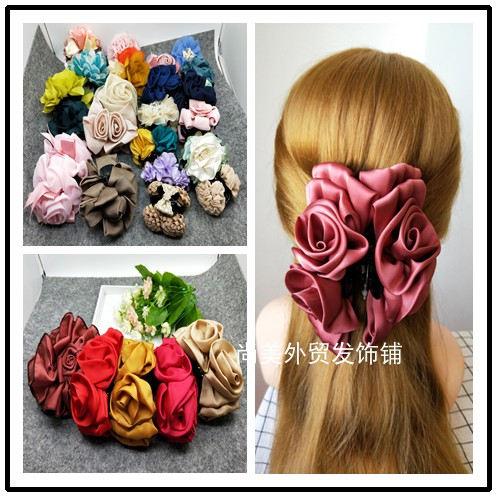 Fabric clip Japanese flower hair clip size silk hair clip CHIFFON HAIR CLIP lattice hair clip