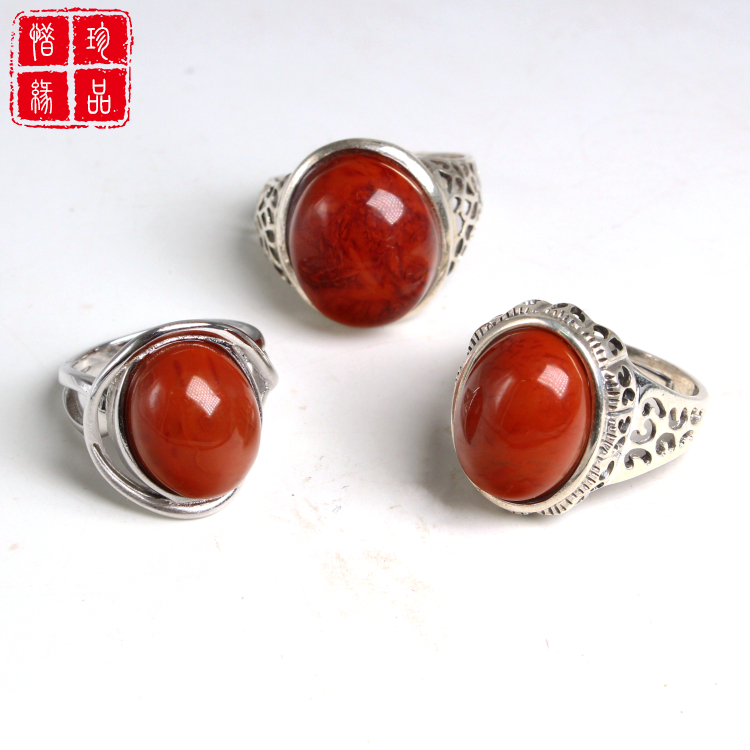 Natural Sichuan Liangshan jiukou South Red Agate meat persimmon red flame pattern 925 silver inlaid mens and womens rings
