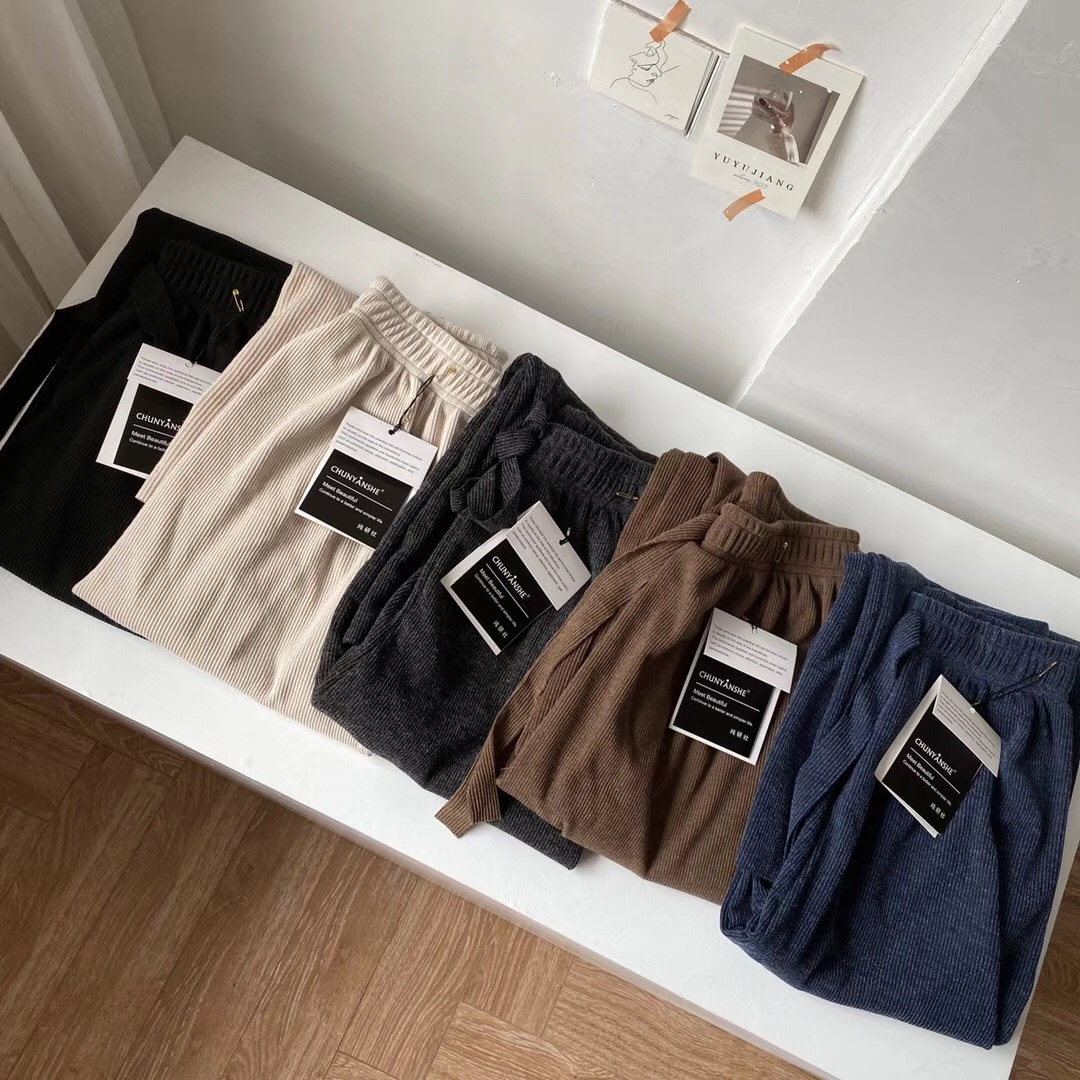 Chuntrp knitted cashmere wide leg pants with bow tie tie tie very long pants with heavy drape and versatile casual pants in autumn and winter