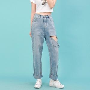 丹尼家2020春夏季薄款新品宽松高腰bf风破洞直筒牛仔长裤 女