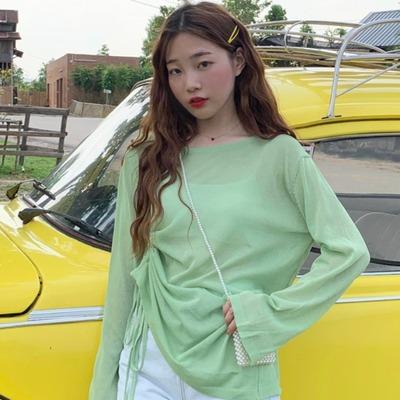 學生大碼女裝200斤胖MM夏韓版泫雅風寬松薄款抽繩針織衫防曬衣T恤