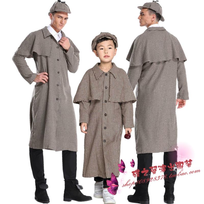 ハロウィンの親子衣装は男女とも大人のシャーロックホームズ探偵探偵が演出した衣装です。