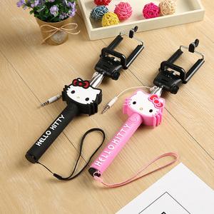 卡通可愛hello kitty自拍桿蘋果華為三星手機通用線控自拍神器