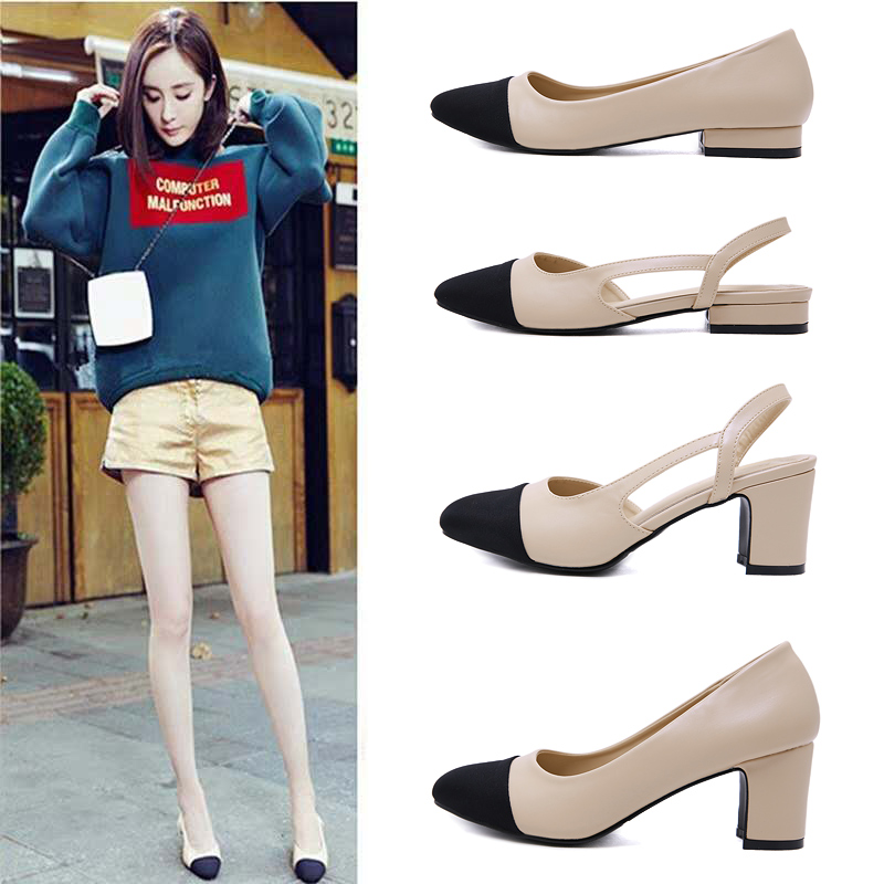 Europe and America 2021 new style small fragrant sandals Baotou middle heel thick heel single shoes shallow mouth flat bottom womens shoes color matching high heels