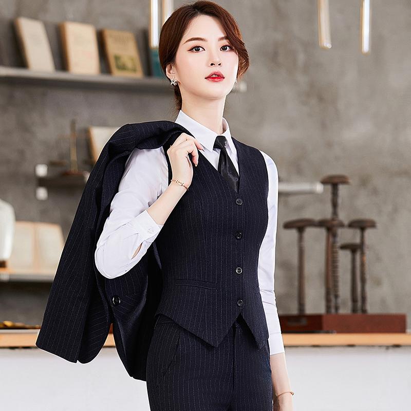 秋冬职业套装女商务正装工装大学生面试条纹西装三件套工作服气质