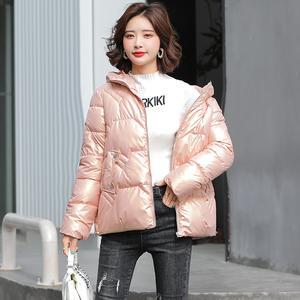 實拍免洗亮面網紅女短款2021年冬新款韓版寬松棉衣小棉襖外套